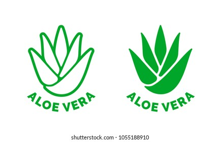 Aloe Vera green leaf label for natural organic moisturizing gel and lotion package. Isolated Aloe Vera leaf icon sign for cosmetic skincare soothing product packaging design template