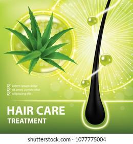 Aloe vera for hair care , prevent split ends banner vector illustration