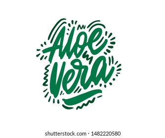 Aloe vera hand drawn illustration. Template for card banner and poster for bar menu and restaurant. Vector illustration