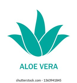 Aloe vera icon isolated on white background. Aloe vera green plant. Flat icon for logo, label and sticker. Creative art concept, vector illustration of aloe vera leaf