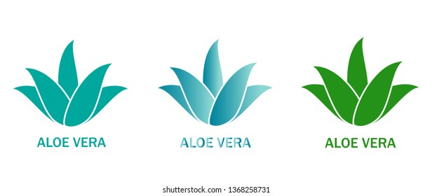 Aloe vera icons set isolated on white background. Collection of aloe vera green plants. Flat icons for logo, symbol, label and sticker. Creative art concept, vector illustration of aloe vera leaf