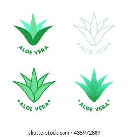 Aloe vera icons, vector beauty logotypes