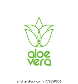Aloe vera line icon or logo design. Vector