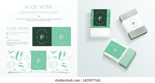 Aloe vera logo and packaging design template. Aloe vera soap package mockup created by vector. Hand drawn aloe vera pattern for branding and corporate identity.