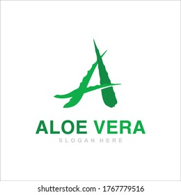 Aloe Vera logo template. Aloe Vera Fresh Logo Green Leaf