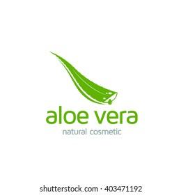 Aloe Vera logo template. Green leaf aloe vera label or icon. Vector sign