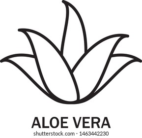 Aloe vera logo vector. Icon isolated on white background. Aloe vera flat logo style for sticker, label, leaf icon and element design. Aloe vera plant, vector illustration