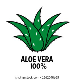 Aloe Vera plant icon. Vector logo. Medical suculent. Natural therapy.