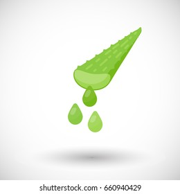 Aloe vera plant with juice drops vector flat icon, Flat design of medicine, cosmetology and healthcare with round shadow
