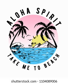 Aloha beach theme vector illustrations, for t-shirt and other uses