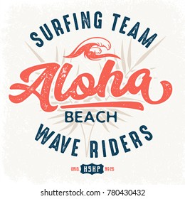 Aloha Beach Wave Riders - Tee Design For Print