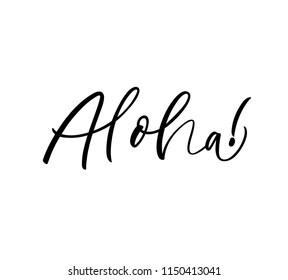 Hand drawn aloha lettering hello hawaiian stock vector royalty free hawaiian language greeting typography ink illustration modern brush calligraphy isolated m4hsunfo