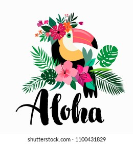 Aloha card /invitation design with toucan, exotic flowers arrangement and hand lettering, isolated on white