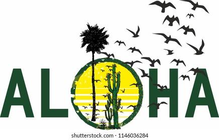 Aloha graphic design vector art