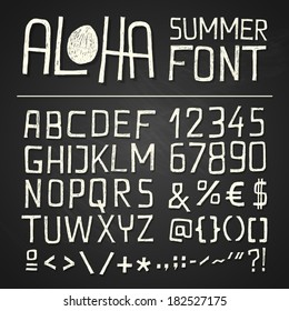 ALOHA HAND DRAWN FONT for seasonal posters or other works on chalkboard background