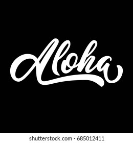 Aloha hand lettering, custom drawn letters, Hawaiian language greeting typography, vector illustration.
