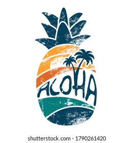 'Aloha' hand lettering in a pineapple silhouette. Fun summer typography illustration, can be used as a print for t'shirts, bags, cards and posters.