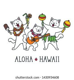 Aloha Hawaii. Cute cats having fun at a summer party. Doodle vector illustration