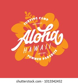 Aloha hawaii floral t-shirt print. Summer paradise phrase. Surfing related apparel design. Vector vintage illustration.