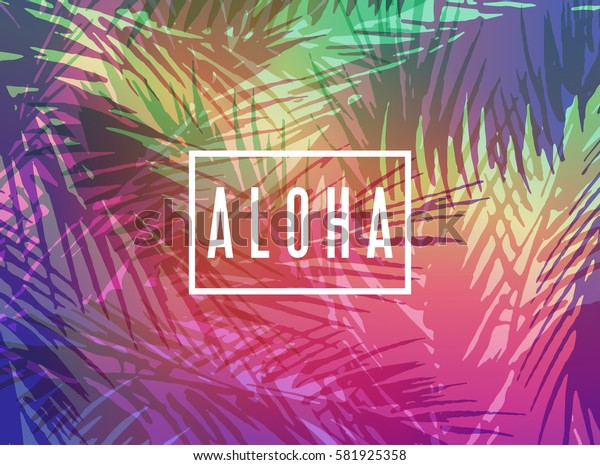 Aloha Hawaii greeting card. Colorful tropical paradise illustration with palm tree leaves at sunset background