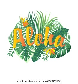 Aloha Hawaii. Leaves of palm tree, tropical flower. T-Shirt design. Best creative for poster, flyer, presentation. Vector background.