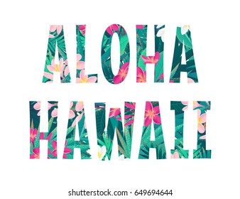 Aloha Hawaii lettering. Retro vector tropical letters with pink and white frangipani (plumeria) flowers and palm leaves