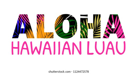 Aloha Hawaii lettering. Aloha T-Shirt design. Best creative design for poster, flyer, presentation. Vector background.