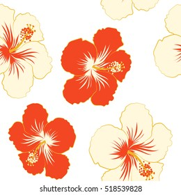 Aloha Hawaii, Luau Party invitation on white background with beige and red hibiscus flowers. Aloha T-Shirt design. Best creative design for poster, flyer, presentation. Vector.
