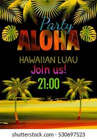 Aloha Hawaii Luau Party Invitation Leaves Of Palm Tree Best Creative Design For