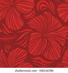 Aloha Hawaii, Luau Party invitation with red and orange hibiscus flowers. Aloha T-Shirt design. Best creative design for poster, flyer, presentation. Vector seamless pattern.