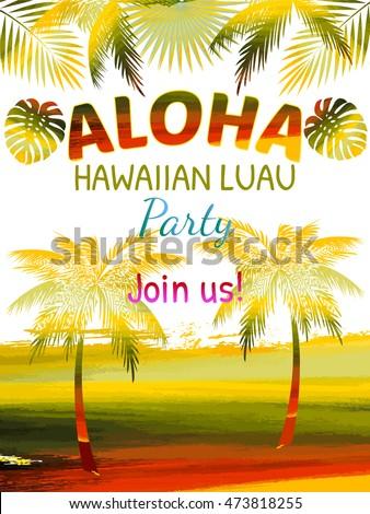 aloha hawaii luau party invitation leaves stock vector royalty free