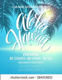 Aloha Hawaii  Summer Beach Party Poster. Vector illustration EPS 10