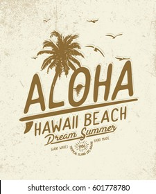 Aloha. Hawaii  summer concept tee print design. Typography t-shirt design