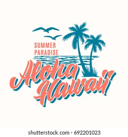 Aloha Hawaii  t-shirt design. Vector illustration.