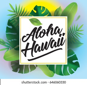 Aloha Hawaii. Vector background with typography for posters and banners. Illustration with tropical leaves and sun.