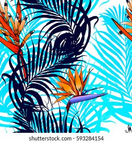 Aloha Hawaiian Shirt Seamless Background Pattern. Tropical flowers and leaf, Palm, bird in paradise.