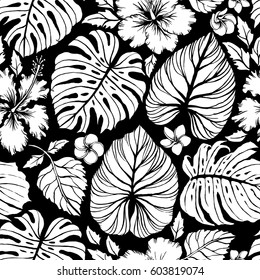 Aloha Hawaiian Shirt Seamless Background Pattern. Tropical flowers and leaf, Palm, gibiscus, plumeria.