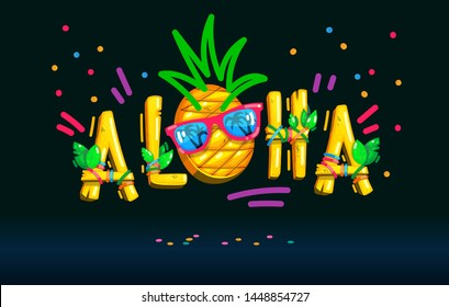 Aloha inscription pineapple face sunglasses color illustration on the dark  background