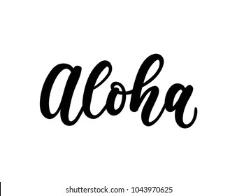 Aloha lettering inscription isolated on white background. Hand drawn summer calligraphy. Vector illustration.