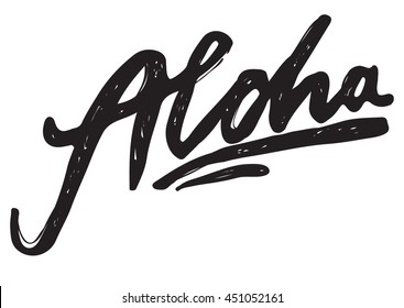 Aloha lettering. Vector calligraphy illustration. Hawaiian handmade tropical exotic t-shirt graphics. Summer apparel print design.
