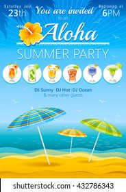 Aloha luau beach party vector flyer invitation with umbrellas and tropical cocktails. Summer sea background with waves, hibiscus logo