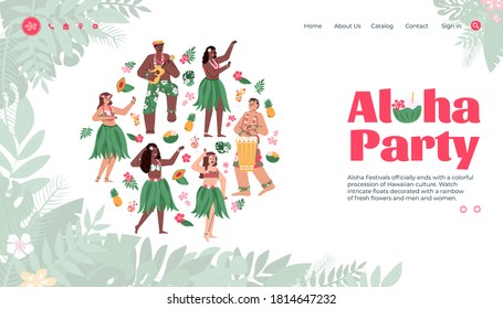 Aloha party hawaiian festival landing page for website. Group of hawaiian girls and boys dancing in traditional dresses, flat cartoon vector illustration
