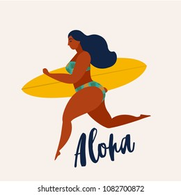 Aloha poster with surfer girl with surfboard running to ocean. Beach and surfings design for poster, t-shirt or cards. Summertime illustration.