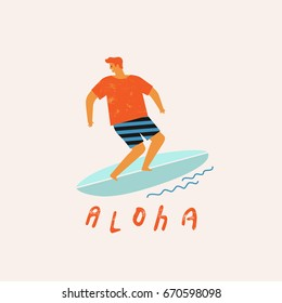 Aloha poster with surfer on surfboard catching waves in ocean. Beach and surfings design for poster, t-shirt or cards. Summertime illustration.