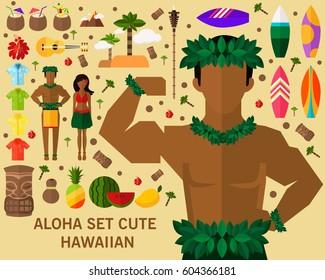Aloha Set Cute Hawaiian concept background. Flat icons.