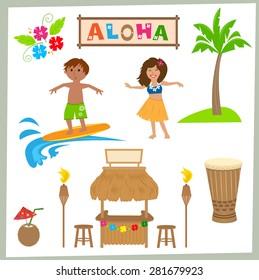Aloha Set - Cute Hawaiian set of tiki bar, drum, surfer, hula girl and more. Eps10