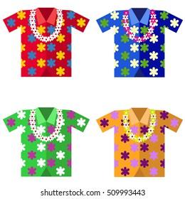 Aloha shirts icon, Hawaiian shirt isolated, aloha. Flat design, vector.