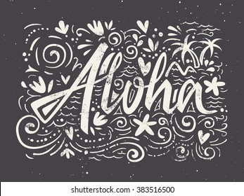 Aloha shirts to print. Hand lettering. Vector illustration. Summer composition.