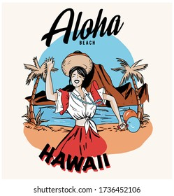 Aloha slogan with Hawaiian girl illustration. Vector graphic for t-shirt print and other uses. Hawaiian girl illustration.