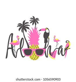 Aloha summer poster with toucan, flamingo, parrot, pineapple and palm. Vector Illustration.